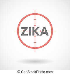 """Illustration of the word """"Zika""""   in a crosshair"""