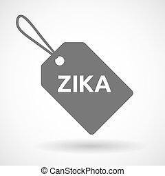 """Illustration of the word """"Zika""""   in a grey label"""