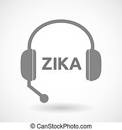 "Illustration of the word ""Zika"" in a headset icon"