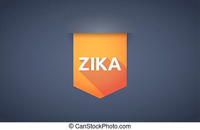 """Illustration of the word """"Zika""""   in a long shadow ribbon"""