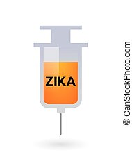 "Illustration of the word ""Zika"" in a syringe icon"
