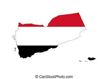 Yemen flag on map - Illustration of the Yemen flag on map of...