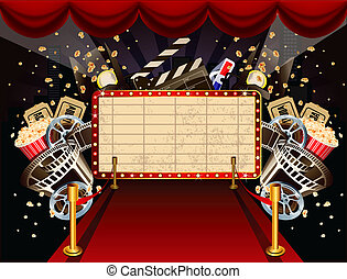 Illustration of theatre marquee wit