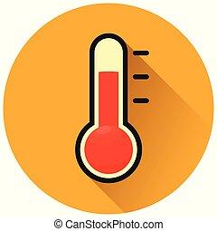 thermometer circle orange icon concept