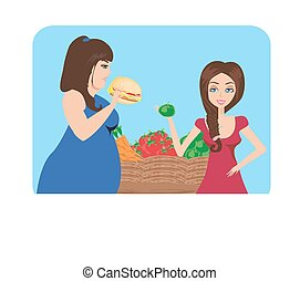 Illustration of thick and thin girls in Supermarket with food