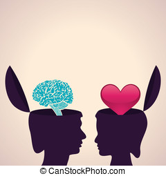 Human head with brain and heart