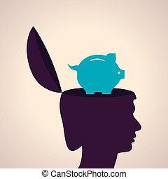 Human head with piggy bank