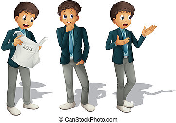 illustration of three boys on a white background