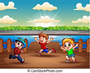Illustration of three boys running at the port