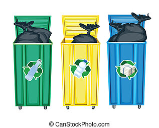 three dustbins - illustration of three dustbins on a white ...