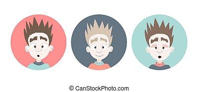 Three emotional boy faces icons