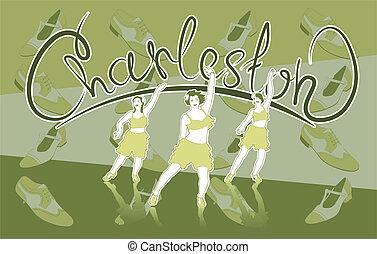 Charleston - Illustration of three girls dancing Charleston....