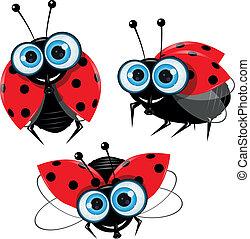illustration of three ladybirds with big eyes