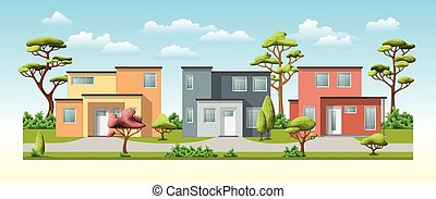 Illustration of three modern family house with trees