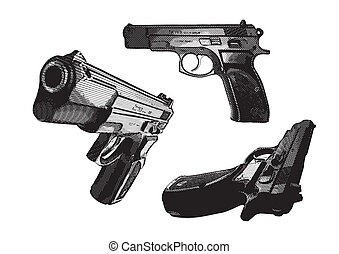 pistols - illustration of three pistols