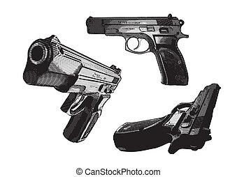 illustration of three pistols