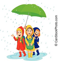 three school girl with raincoat under a large umbrella on a rainy day