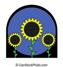 Illustration of three sunflowers in a frame on a white isolated background. Vector image