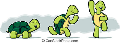 Illustration of three tortoises running and jumping with...