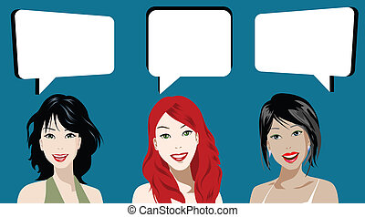 chatting - illustration of three women chatting over blue...