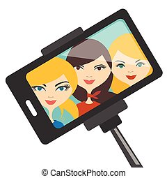 Illustration of three young girls making selfie photo. Vector.