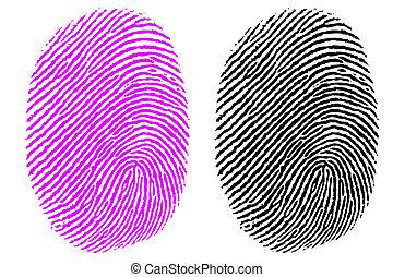 illustration of thumb impression on white background