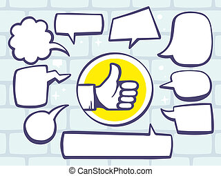 illustration of thumb up with speech comics bubbles on gr