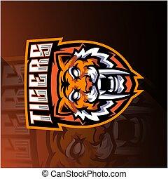 Tiger head esport mascot logo design