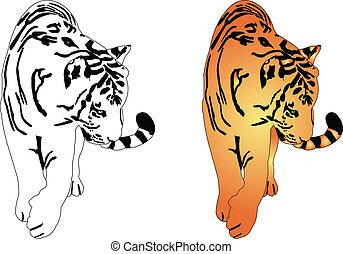 tiger silhouette - vector