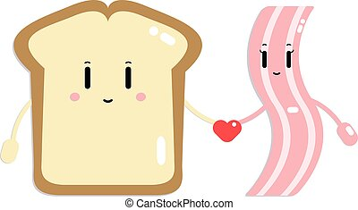 illustration of toast and bacon