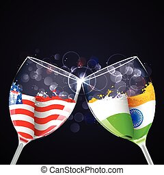 India-America relationship - illustration of toast of...