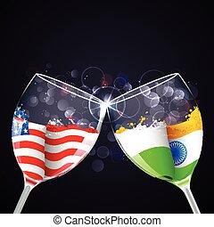 India-America relationship - illustration of toast of...