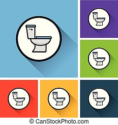 toilet icons with long shadow