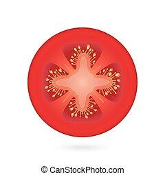 Tomato slice icon over white