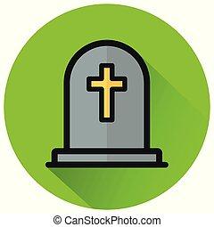 tombstone circle green flat icon