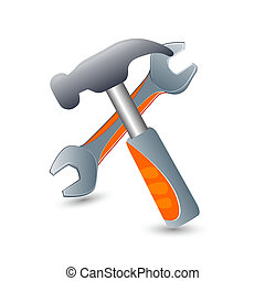 illustration of tools icons on white background