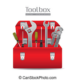 Illustration of tools, with a pipe wrenches, hammer, ...