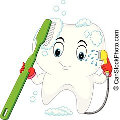 Tooth is washing herself with a toothbrush