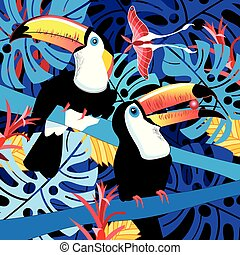 Illustration of toucans in the jungle