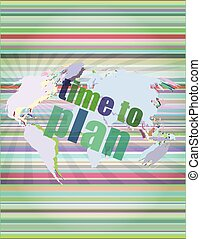 illustration of touch screen with time to plan words vector illustration