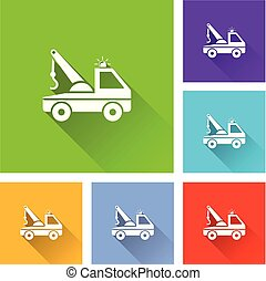 tow truck icons with long shadow