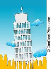 illustration of tower of pisa