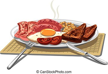 traditional english breakfast - illustration of traditional...