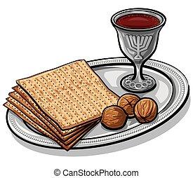 traditional jewish matzoh - illustration of traditional...