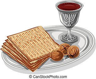 traditional jewish matzoh - illustration of traditional ...
