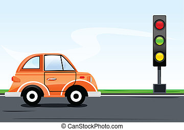illustration of traffic signal with car on road