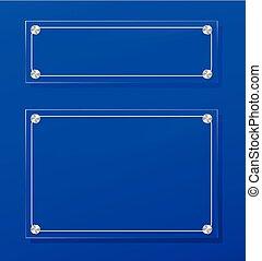 transparent frame on blue background