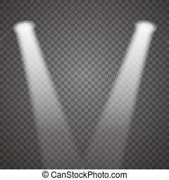 Realistic Stage Lights Or Concert Spotlights Vector Transparent Effect