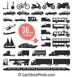 Illustration of transportation items. City transport