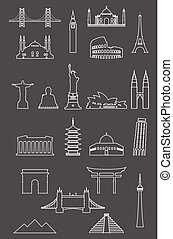 Travel landmarks icon set with thin line style